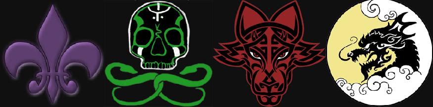 The emblems of The Saints, The Sons of Samedi, The Brotherhood and The Ronin
